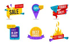 Sale labels set. Colorful collection of vector tags for promo or. Advertising. Discount card set of `Hot Sale`, `Just now big sale`, `10% off for first app royalty free illustration