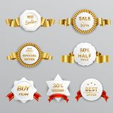 Sale Labels Set. Sale labels realistic set with ribbons isolated realistic vector illustration Royalty Free Stock Photos