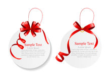 Sale Labels Set with Red Bow and Ribbon . Vector Royalty Free Stock Image