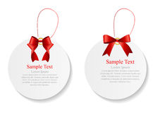 Sale Labels Set with Red Bow and Ribbon . Vector Royalty Free Stock Photography