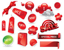 Sale Labels, Shopping Stickers and Tags Vector Set Stock Image