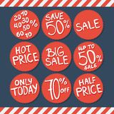 Sale labels and stickers with hand written text. Vector illustration. Editable For Your Design Stock Image