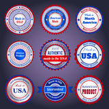 Sale labels and stickers on Made in the USA. Set of trade labels and stickers on Made in the USA, in blue and red colors Stock Photos