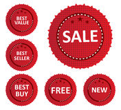 Sale Labels And Stickers. Vector illustration of SALE related labels and stickers on red color circular design Stock Photos