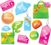 Sale labels and tags. Colorful, glossy Stock Image
