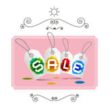 Sale Labels - Tags on Pink Background Stock Photos