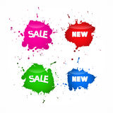 Sale Labels, Tags Set in Splash, Blot Style Stock Image