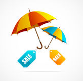 Sale labels with umbrellas, spring Stock Images
