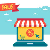 Sale. Laptop with awning. Online store. Sale. Laptop with awning Royalty Free Stock Image