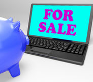For Sale Laptop Means Advertising Products To Buyers Stock Images