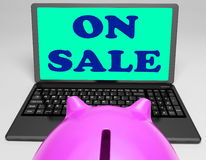 On Sale Laptop Shows Internet Discounts And Specials Stock Image