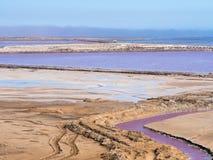 Sale las cacerolas en la bahía de Walvis, Namibia, África foto de archivo