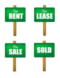 Sale , lease, rent and sold sign boards Stock Photography