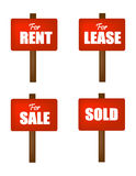 Sale , lease, rent and sold sign boards Royalty Free Stock Photo