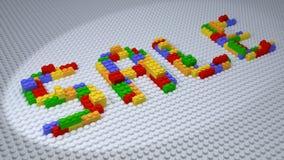 SALE Lego Constructed från färgrika plast- tegelstenar på vit bakgrund Royaltyfri Bild