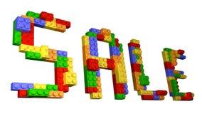 SALE Lego - rak formulering som konstrueras från glansiga tegelstenar i isolerad vit bakgrund Arkivbilder