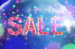 Sale letter with Abstract colorful blurred lights. For festive background design,3d illustration stock illustration