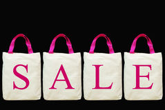 Sale letter on fabric shopping bag Stock Photo