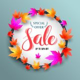 Sale lettering banner circle with maples. Stock Photo