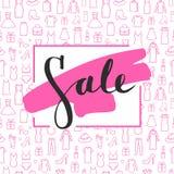 Sale lettering on brushstroke on Seamless pattern Royalty Free Stock Image