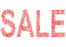 Sale lettering formed from different percentages Royalty Free Stock Photography