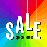 Sale lettering on rainbow background. Vector Royalty Free Stock Photo