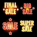 Sale lettering shining banners Royalty Free Stock Images