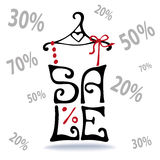 Sale lettering.Shirt on hanger,falling numbers Royalty Free Stock Photo