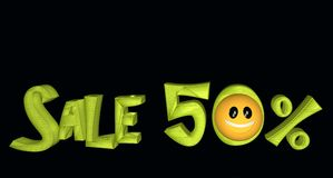 Sale 20%. Lettering Sale 20% with smiley on black background vector illustration