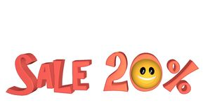 Sale 20%. Lettering Sale 20% with smiley on white background stock illustration