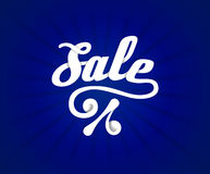 Sale letters poster on blue radial background, vector illustration Stock Photography