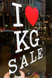 Sale letters on a shop window Stock Images