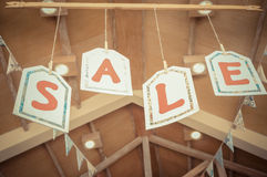 Sale Letters Signs Hanging on The Ceiling royalty free stock photo