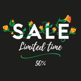 Sale. Limited time. Fifty percent. Vector. Royalty Free Stock Images