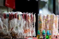 Sale of lollipops at the candies stall during a patron saint Royalty Free Stock Images