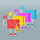 Sale at low prices, Cartoon shopping bags. With a smile Royalty Free Stock Images