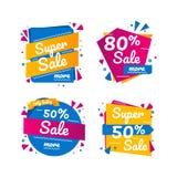 Sale märker grafiska beståndsdelar i pappers- origamistil Royaltyfria Foton