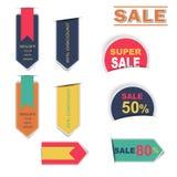 Sale märker samlingsklistermärken med skugga Royaltyfri Fotografi