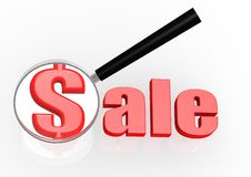 Sale and magnifying glass Stock Photos