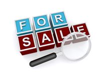 For sale with magnifying glass Stock Photography