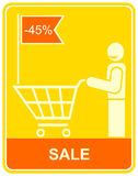 Sale, man with a shopping trolley -  sign. Royalty Free Stock Photo