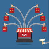 Sale. many-armed laptop on blue. Online store. Sale, many-armed laptop with awning. Concept of shopping Stock Images