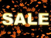 SALE in Maple leaves Royalty Free Stock Photography