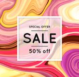 Sale. Marbling. Marble texture. Discount. Vector abstract colorful background. Paint splash. Colorful fluid. Shopping. Bright colors. Flyer advertising banner Royalty Free Stock Photo