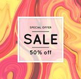 Sale. Marbling. Marble texture. Discount. Vector abstract colorful background. Paint splash. Colorful fluid. Shopping. Bright colors. Flyer advertising banner Royalty Free Stock Image