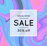 Sale. Marbling. Marble texture. Discount. Vector abstract colorful background. Paint splash. Colorful fluid. Shopping. Bright colors. Flyer advertising banner Royalty Free Stock Photography