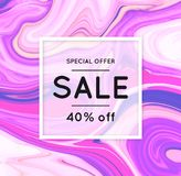 Sale. Marbling. Marble texture. Discount. Vector abstract colorful background. Paint splash. Colorful fluid. Shopping. Bright colors. Flyer advertising banner Stock Photography