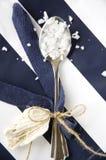 Sale marino in cucchiaio con il nastro e le coperture Fotografie Stock Libere da Diritti