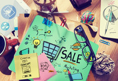Sale Marketing Analysis Price Tag Branding Vision Share Concept stock image