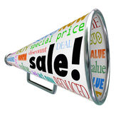 Sale megafonmegafon som annonserar händelse för specialt pris royaltyfri illustrationer
